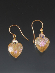 Flashing pink dichroic hearts topped with a tiny Swarovski crystal and 14K earwires