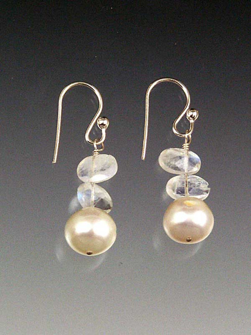 Grade AAA almost perfectly round white freshwater pearls with moonstone slices, sterling earwires!""