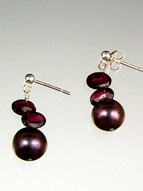 Garnet freshwater pearls with garnet slices, sterling posts or earwires. !""