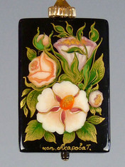 """This hand-painted Russian lacquered miniature features a delicate arrangement of coral and white flowers. A black onyx pendant (1"""" x 3/4"""")  crowned with a 14K gold rondel and 24K Swarovski crystal. 20"""""""
