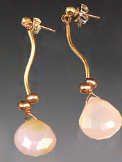 Totally elegant and a great value for real gold. Pale pink chalcedony teardrops topped with tiny freshwater pearls.