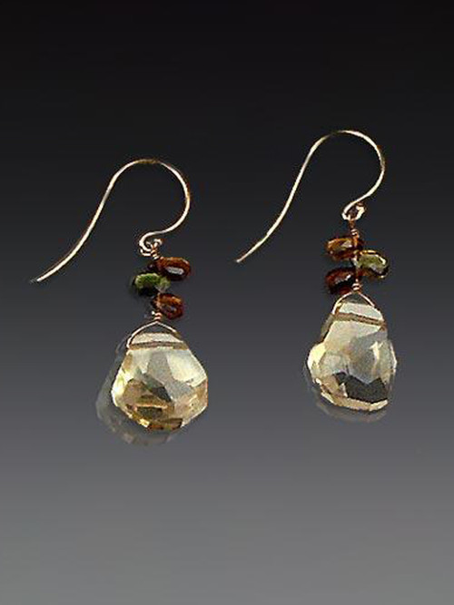 One of our most popular designs and very limited, these elegant earrings feature Grade AA faceted pale citrine drops, tourmaline briolettes, and 14K earwires.