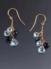 These earrings feature totally luxurious Grade AAA rich blue satin faceted Sapphires alternating with pale blue topaz dangling on a 14K chain and earwire. 1-1/2""