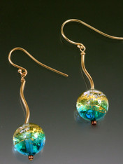 Aqua Golden Globe 14K Earrings