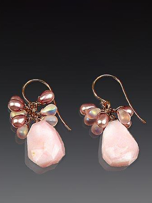 """These charming earrings feature Grade AAA pink opal, precious clusters of rose quartz, freshwater pearls and other gems, and 14K earwires. 1-1/4"""""""