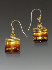 "Extremely popular, almost sold out. Limited edition Venetian glass ""Missoni"" wave shaped earrings with bands of light and dark topaz and 24K gold. 14K earwires - 1"""