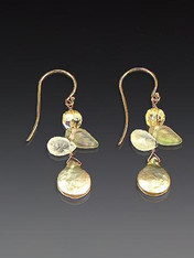 These delightful and delicate earrings feature sage freshwater pearls, tourmalated quartz, Czech glass leaves, Swarovski crystals and 14K earwires.  1""