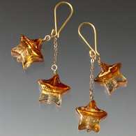 These charming double dangle earrings feature topaz and gold 24K Venetian glass stars with 18K chain and earwires.  ONLY ONE PAIR LEFT!!