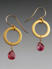 "These delightful earrings feature Grade AAA strawberry tourmaline briollette dangles from 24K ultraplate gold hoops with 14K earwires. 1-1/4""  Inquire about other precious gemstones to substitute for these dangles."