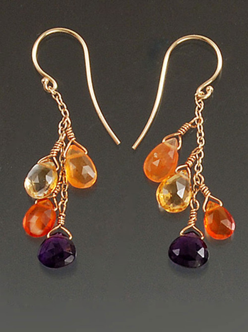 """All the season's hot colors in these dazzling dangle earrings with faceted African amethysts (the finest natural deep purple), fire opals, carnelian and citrine on a 14K gold chain with 14K or 18K earwires. 1"""""""