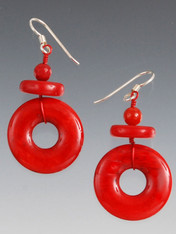 "Everyone needs a pair of red earrings in her wardrobe. These dangle earrings feature bright red lacquered hoops topped with red coral rondels and round beads.  1-1/2"" Sterling silver earwires"