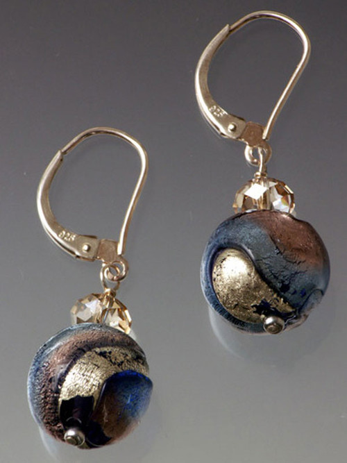 These elegant earrings feature amethyst-periwinkle toned Venetian Glass balls with a sterling earwire or lever back wire.