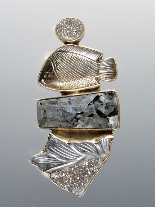 """This fabulous one-of-a-kind curved vintage Amy Kahn Russell pin/pendant features silver Brazilian druzy, hand-carved hematite, and a speckled opalite rectangle bezel set in sterling silver. 3"""" x 1-1/4"""" Very very special. (retail value $468)"""