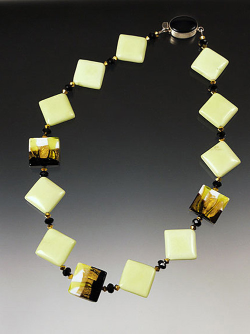 """This unusual necklace features lemon chrysophrase squares with Swarovski crystals and Venetian lime, gold and white square beads. 17-1/2"""""""