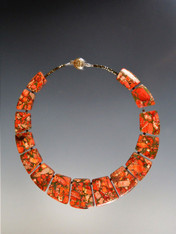 """This collar of intricately patterned orange sea-sediment jasper with pyrite highlights brightens every outfit. 18"""""""
