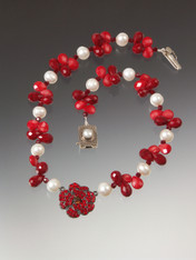 """This opulent necklace has a vintage French crystal flower suspended on a strand of coral, crystal and luxurious white pearls. 18"""""""