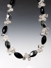 Amazing Onyx Hematite Tourmaline Quartz Briolette Necklace.