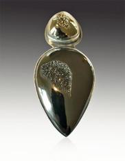 Brazilian Titanium Pyrite Bronze-Silver Pin Pendant