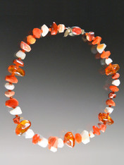 Capture the glow of spring and summer with this lustrous collar featuring alternating Grade AAA faceted fire agate, white opal, and natural Baltic amber with a custom sterling spiny oyster clasp. 18""