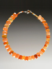 "One-of-a-kind Grade AAA collar of faceted carnelian ""chicklets"" form an elegant nesting 18"" collar."