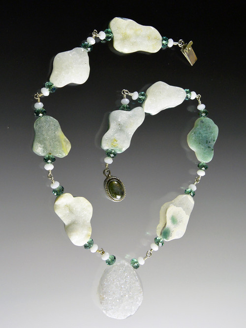 Make a unique statement with this one-of-a-kind ocean jasper Brazilian druzy necklace. 19""