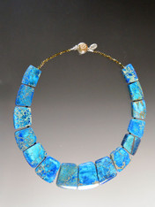 """This collar of intricately patterned aqua sea-sediment jasper with pyrite highlights brightens every outfit and fits your neck to perfection. 18"""""""