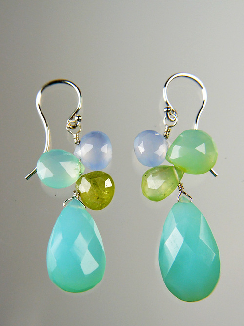 """Welcome spring with these deep aqua faceted chalcedony oval earrings topped with green garnet precious clusters. Sterling Earwires 1-1/4"""""""