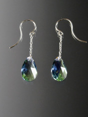 "Make a dramatic statement with these 1.5"" sterling Swarovski Crystal dangle earrings"