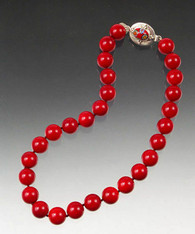 Red Lacquer Balls Hand Knotted Silk Necklace