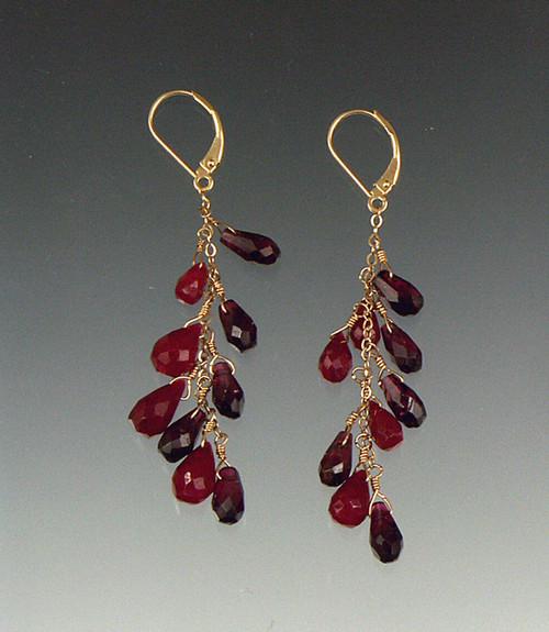 "Elegant ruby and garnet briolettes dangle on a 14K chain 2"""