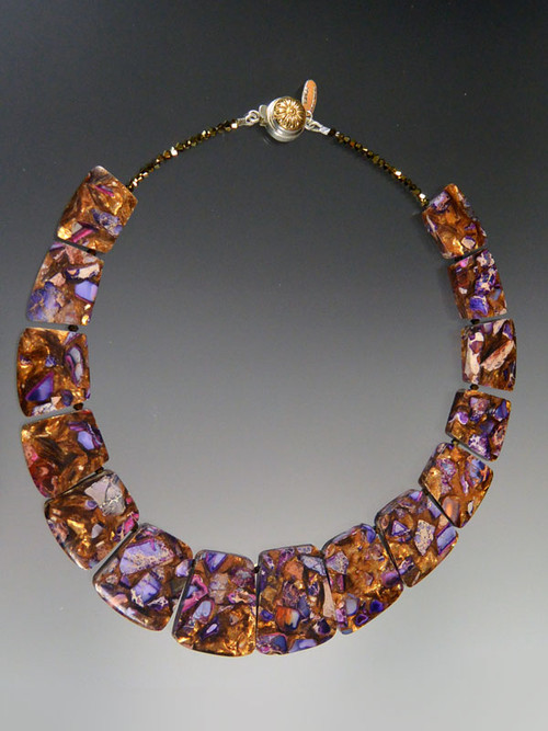 "This stunning collar features vivid purple jasper blended with copper, amber, and gold tones, and a vintage brass sterling silver limited edition dome clasp Totally striking and perfect for now.  18""  No two exactly alike but each one simply beautiful."