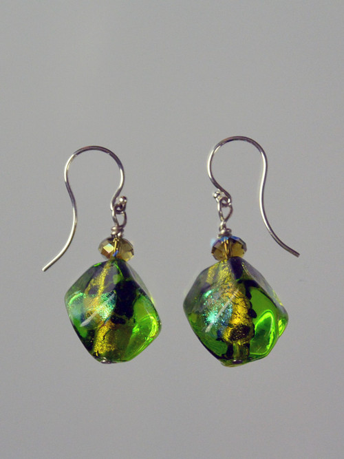 """Green is one of the hottest trends this year.These stunning earrings feature limited edition Venetian glass dichroic glass sasso three dimensional beads, Swarovski crystals and sterling silver earwires. 1"""""""