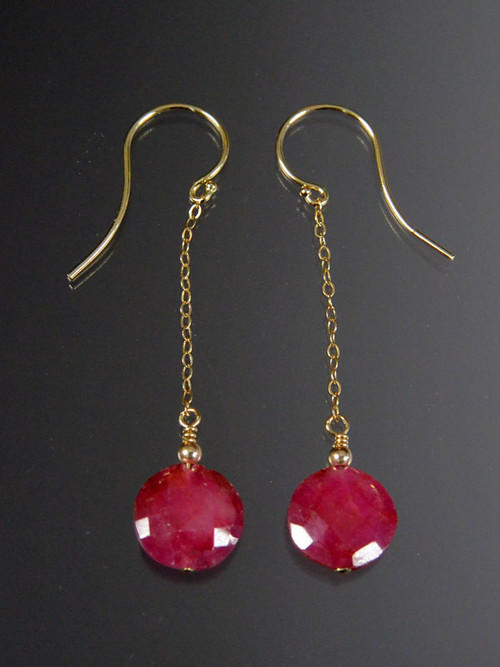 """These brilliant earrings feature grade AAA faceted ruby coins, 14K bead, chain and earwires. 1-1/2"""" Only two pairs."""