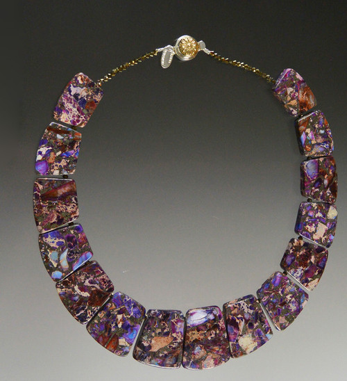 This collar of intricately patterned pyrite purple sea-sediment jasper with flashes of dark purple, wine, brown, and blue complements your fall wardrobe and fits your neck to perfection. No two identical but all equally beautiful.18""