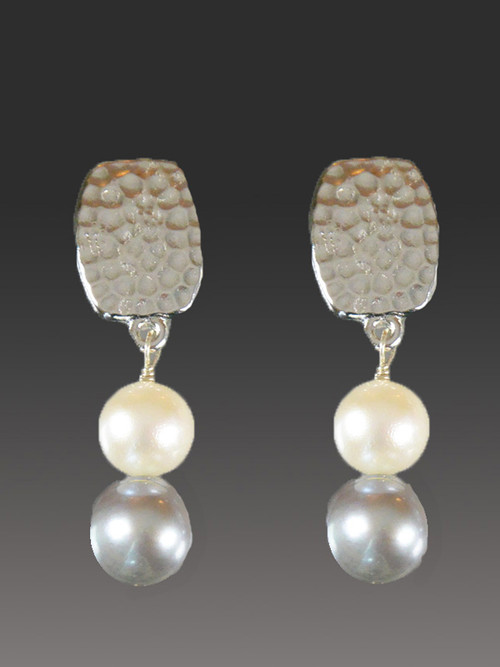 These Bess Heitner earrings feature patterned silver with two grade AAA luminous round pearls in white and gray.  Very fine quality at a great praice. 1-1/4""