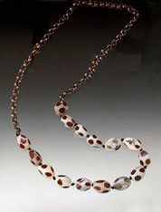 Spotted Agate Copper Rope Necklace  LAST ONE