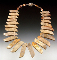 Fossilized Coral and Pearl Collar