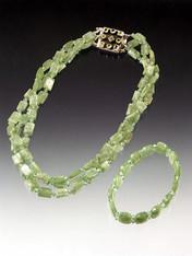 Rare Green Kyanite Necklace and Bracelet Set