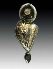 Bronze Druzy Topaz Flower Pin/Pendant