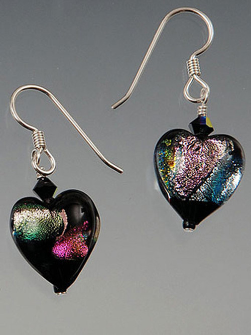 """These """"decadent"""" iridescent black/violet shimmering dichroic heart earrings are topped with a Swarovski crystal suspended from sterling earwires.  They're all you need to make a statement 1"""""""