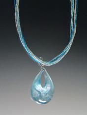 Aqua Venetian Dichroic CZ Teardrop Pendant