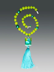 Aqua Venetian Arlecchino Glass and Silk Tassel Necklace
