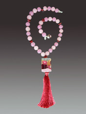 Wine Venetian Arlecchino Glass and Silk Tassel Necklace