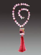 Wine Venetian Arlecchino Glass and Silk Tassel Necklace