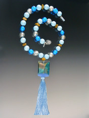 Venetian Arlecchino Blue Tassel Necklace