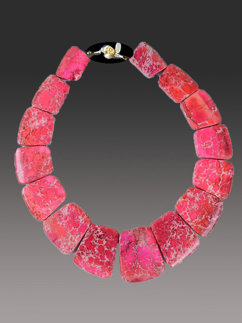 This affordable and  easy to wear jasper collar features intricately patterned bright cherry red that will blend will all your spring summer ensembles. 18""
