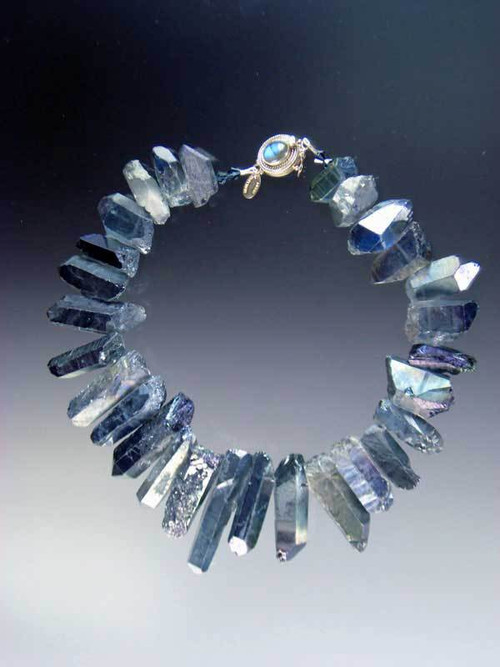 Make a fabulous statement with these shimmering iridescent quartz collars in every color of the rainbow perfect for any occasion and surprisingly light. 18""