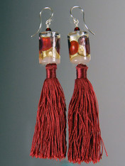 Ruby Venetian Glass Silk Tassel Earrings