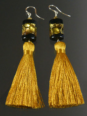 Venetian Gold Silk Tassel Dangle Earrings