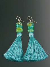 Venetian Arlecchino Aqua Silk Tassel Dangle Earrings